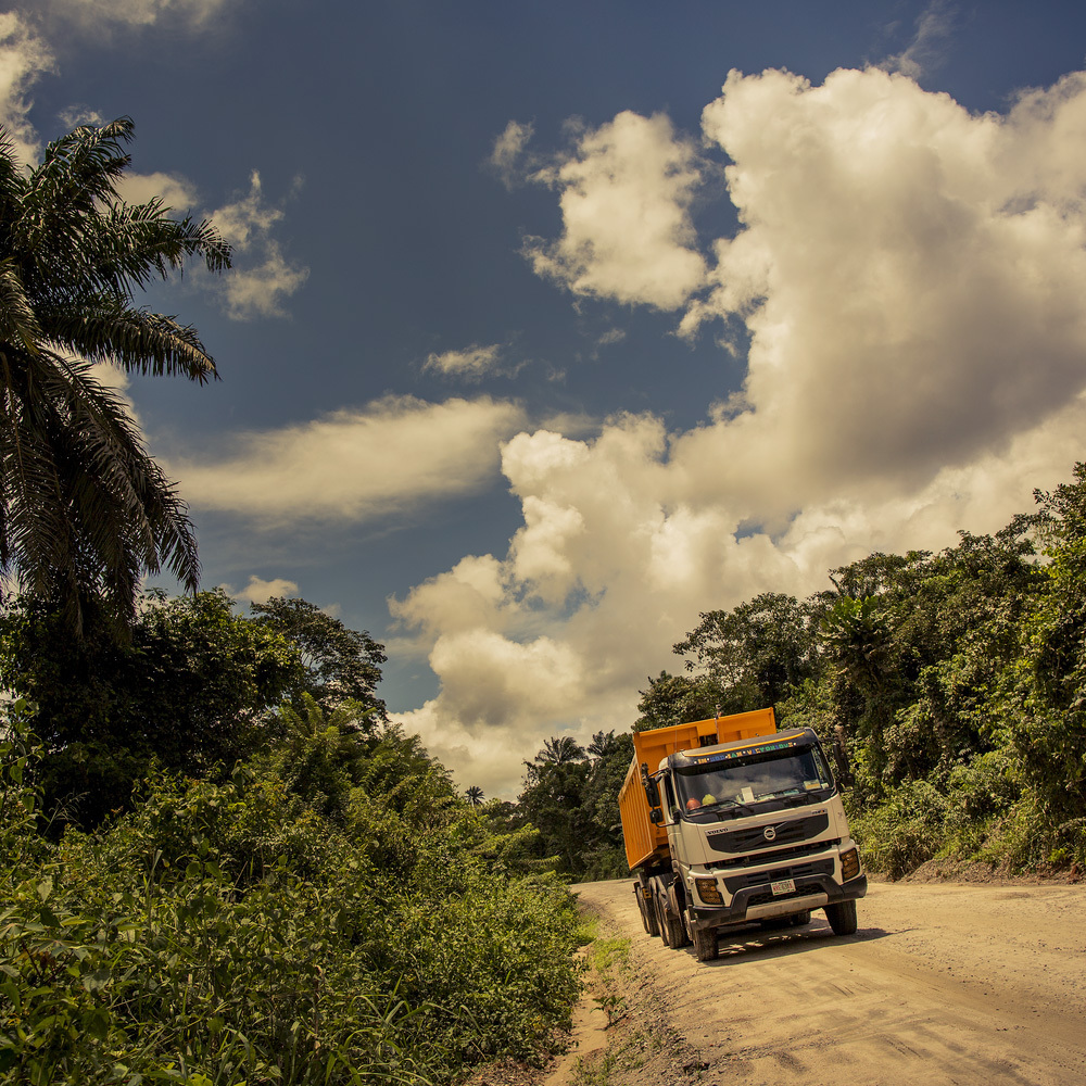 Volvo FMX on dirt road.