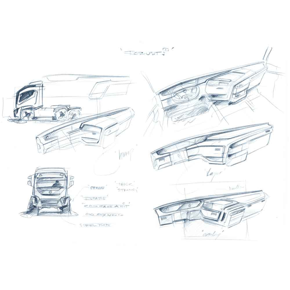 Pencil sketches of the cab dashboard and Volvo FM truck