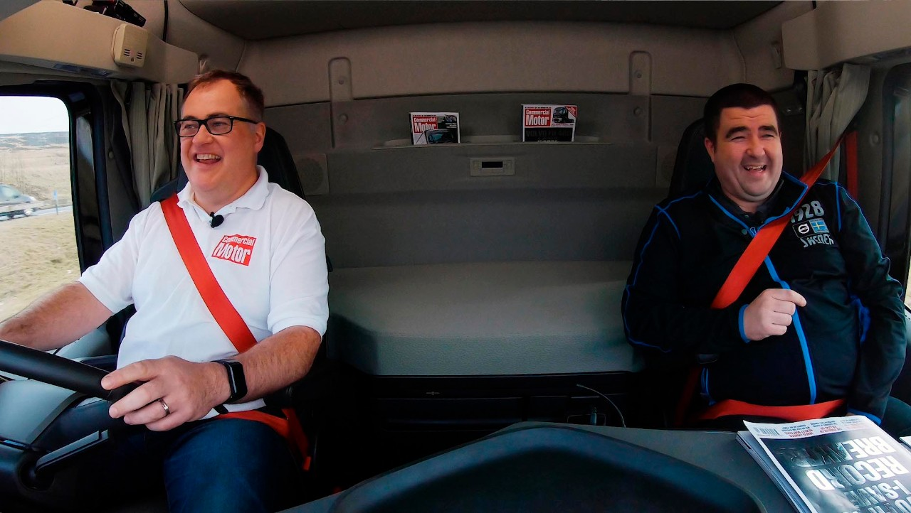 Will Shier, Editor, Commercial Motor magazine and Martin Tomlinson, Head of Media, Truck Demonstration & Driver Development at Volvo Trucks UK & Ireland in the truck cab