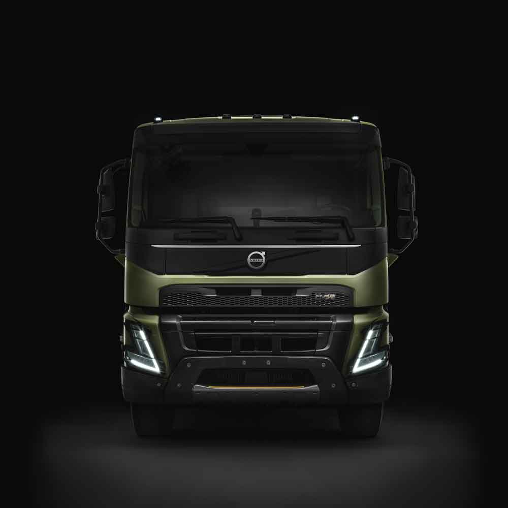 The Volvo FMX with a dark background